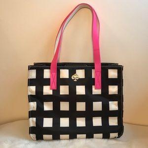 Kate Spade Nylon Tote Black&White Check Pink